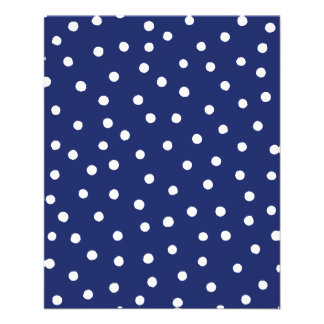 Navy Blue and White Confetti Dots Pattern Flyer
