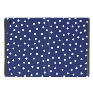Navy Blue and White Confetti Dots Pattern iPad Mini Cases