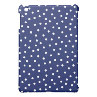Navy Blue and White Confetti Dots Pattern iPad Mini Covers
