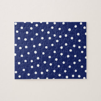 Navy Blue and White Confetti Dots Pattern Jigsaw Puzzle
