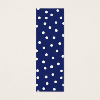 Navy Blue and White Confetti Dots Pattern Mini Business Card