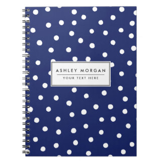 Navy Blue and White Confetti Dots Pattern Notebooks