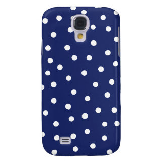 Navy Blue and White Confetti Dots Pattern Samsung Galaxy S4 Cover