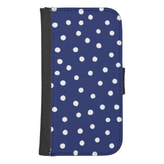 Navy Blue and White Confetti Dots Pattern Samsung S4 Wallet Case