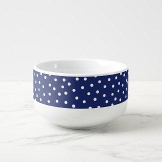 Navy Blue and White Confetti Dots Pattern Soup Mug
