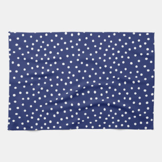 Navy Blue and White Confetti Dots Pattern Tea Towel