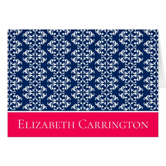 Navy Blue and White Damask Stripes With Pink Card