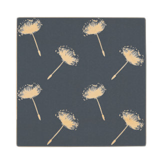 Navy Blue and White Dandelion Flowers Wood Coaster