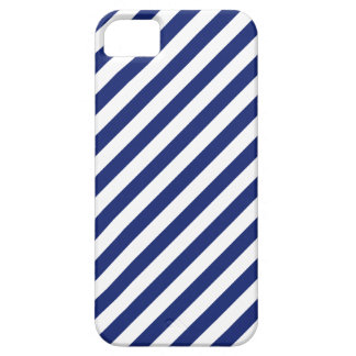Navy Blue and White Diagonal Stripes Pattern Barely There iPhone 5 Case