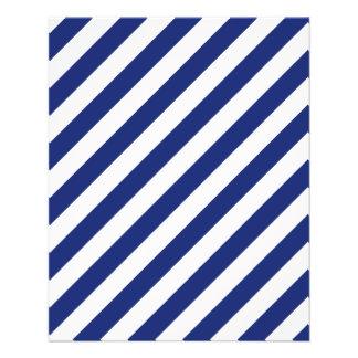 Navy Blue and White Diagonal Stripes Pattern Flyer