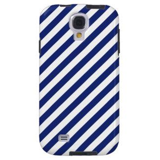 Navy Blue and White Diagonal Stripes Pattern Galaxy S4 Case