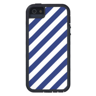 Navy Blue and White Diagonal Stripes Pattern iPhone 5 Covers