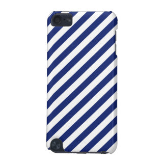 Navy Blue and White Diagonal Stripes Pattern iPod Touch (5th Generation) Cases