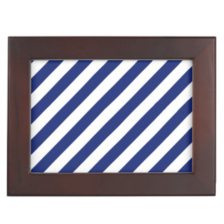 Navy Blue and White Diagonal Stripes Pattern Keepsake Box