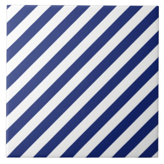 Navy Blue and White Diagonal Stripes Pattern Large Square Tile