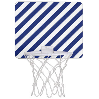 Navy Blue and White Diagonal Stripes Pattern Mini Basketball Hoop