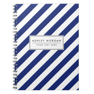 Navy Blue and White Diagonal Stripes Pattern Notebooks