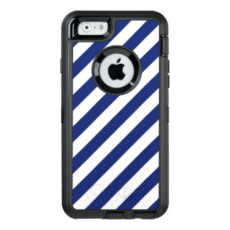 Navy Blue and White Diagonal Stripes Pattern OtterBox Defender iPhone Case