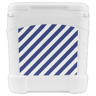 Navy Blue and White Diagonal Stripes Pattern Rolling Cooler