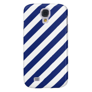 Navy Blue and White Diagonal Stripes Pattern Samsung Galaxy S4 Cover
