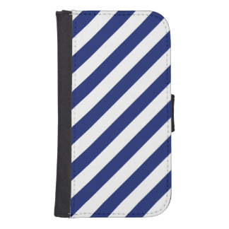 Navy Blue and White Diagonal Stripes Pattern Samsung S4 Wallet Case