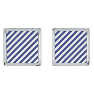 Navy Blue and White Diagonal Stripes Pattern Silver Finish Cufflinks
