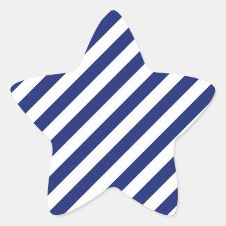 Navy Blue and White Diagonal Stripes Pattern Star Sticker