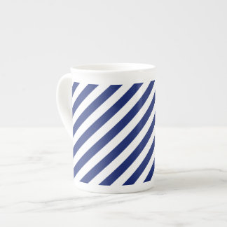 Navy Blue and White Diagonal Stripes Pattern Tea Cup