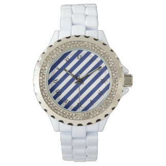 Navy Blue and White Diagonal Stripes Pattern Watch