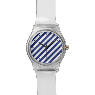 Navy Blue and White Diagonal Stripes Pattern Watches