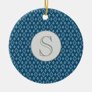 Navy Blue and White Diamond Monogram Ornament