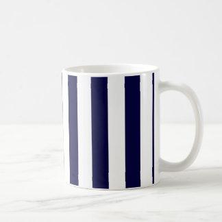 Navy Blue and White Extra Large Stripe Pattern Coffee Mug