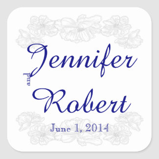 Navy Blue and White Floral Wedding Envelope Seal Square Sticker