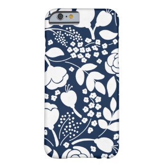 Navy blue and white florals iPhone Case