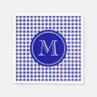 Navy Blue and White Gingham, Your Monogram Disposable Serviette