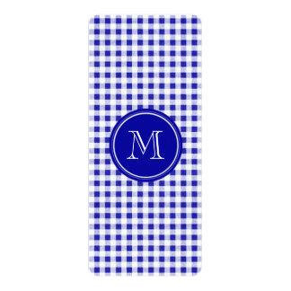 Navy Blue and White Gingham, Your Monogram 10 Cm X 24 Cm Invitation Card