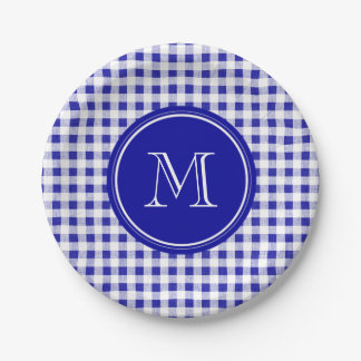 Navy Blue and White Gingham, Your Monogram Paper Plate