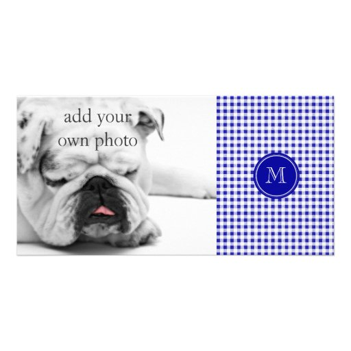 Navy Blue and White Gingham, Your Monogram Photo Cards