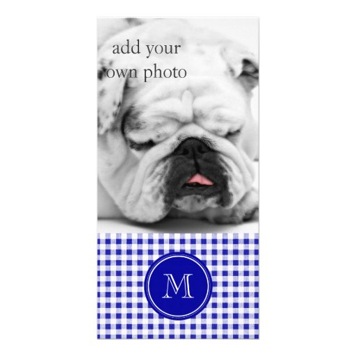 Navy Blue and White Gingham, Your Monogram Personalized Photo Card