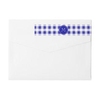 Navy Blue and White Gingham, Your Monogram Wraparound Return Address Label