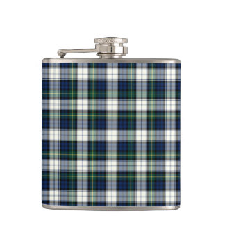 Navy Blue and White Gordon Clan Formal Dress Plaid Hip Flask