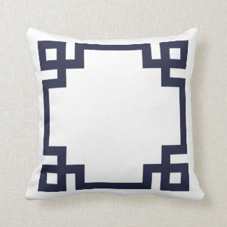 Navy Blue and White Greek Key Border Throw Cushions