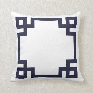 Navy Blue and White Greek Key Border Throw Pillow