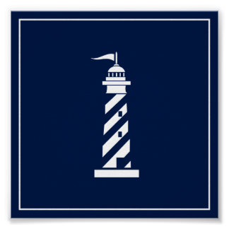 Navy Blue and White Lighthouse Poster