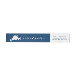 Navy Blue and White Marthas Vineyard Map Wedding Wrap Around Label