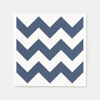 Navy Blue and White Modern Chevron Paper Serviettes
