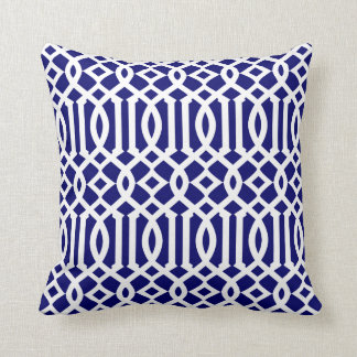 Navy Blue and White Modern Trellis Pattern Throw Cushions