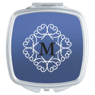 Navy Blue and White Monogram Compact Mirror