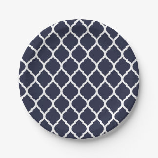 Navy Blue and White Moroccan Quatrefoil 7 Inch Paper Plate