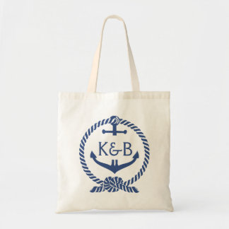 Navy Blue And White Nautical Boat Anchor 2 Tote Bag